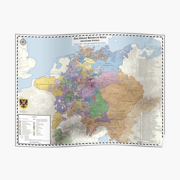 Holy Roman Empire - AD 1648 - german labels Poster
