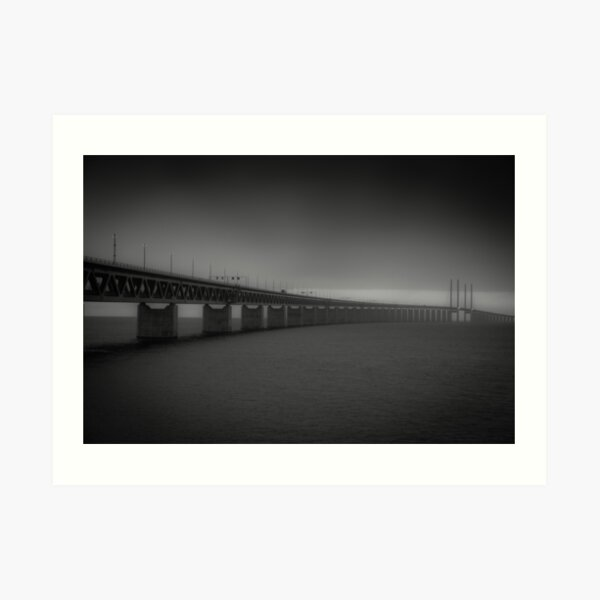 In the beautiful evening light lies the Öresund Bridge, which connects Sweden and Denmark Art Print