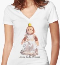 Anyone Can Be A Princess! - Black Text Women's Fitted V-Neck T-Shirt