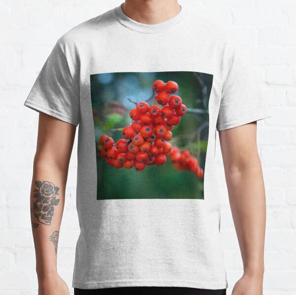 Ashberry on dark green blurred background in the forest  Classic T-Shirt