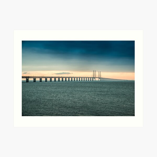 In the colorful evening light lies the Öresund Bridge, which connects Sweden and Denmark Art Print