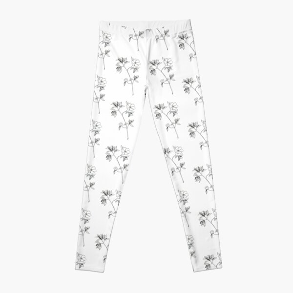 flowers, monochrome, black and white, graphics, plants, nature, ink Leggings
