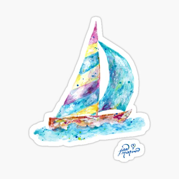 Sailboat by Jan Marvin Sticker