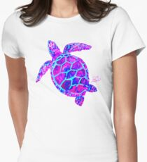 Sea Turtle Pink and Blue Women's Fitted T-Shirt