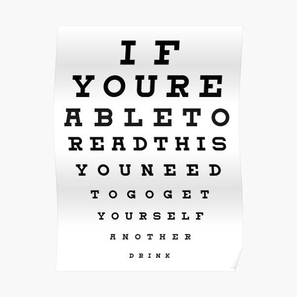 Drinking Eye Test Chart Poster