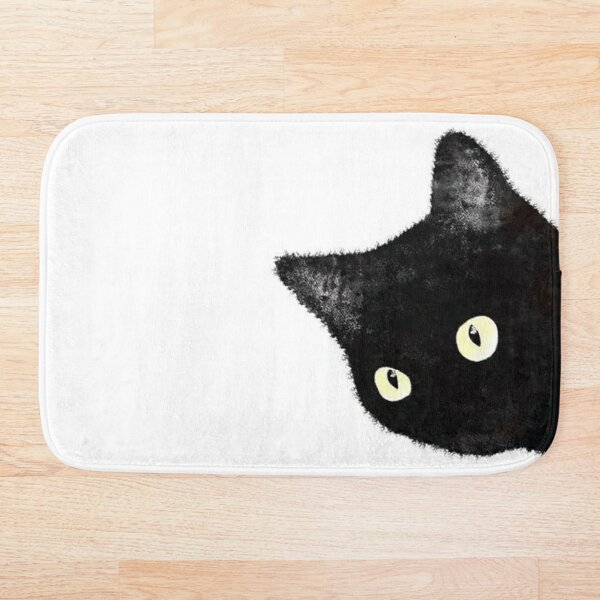 Black Cat Peeking Sideways Bath Mat