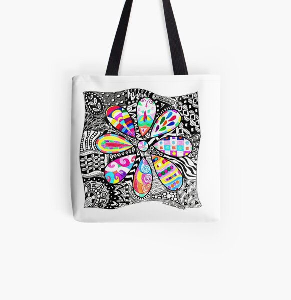 Groovy Flower All Over Print Tote Bag