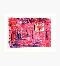 Figures in Landscape in pink and blue by Lynn Ede Art Print