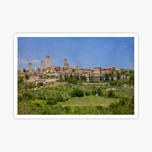 San Gimignano in Italy with vineyards Sticker