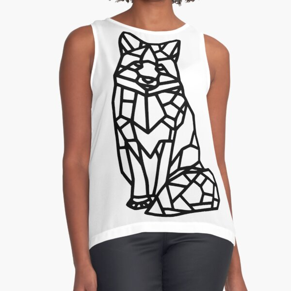 Sitting Fox Mosaic Outlines Sleeveless Top