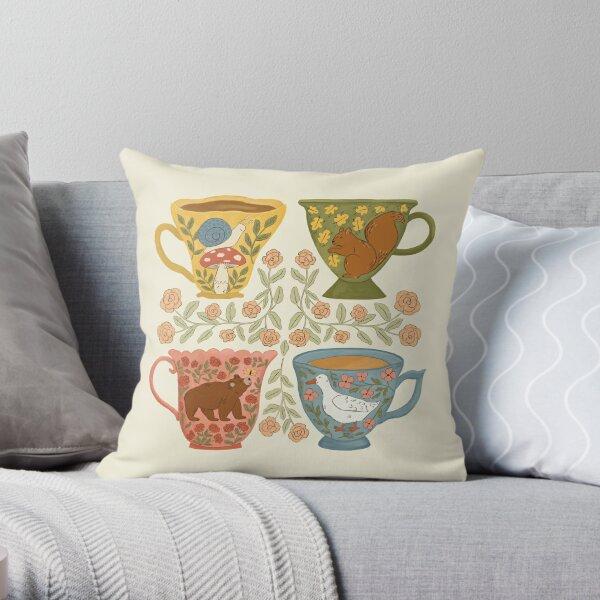 Floral Animal Teacups Throw Pillow
