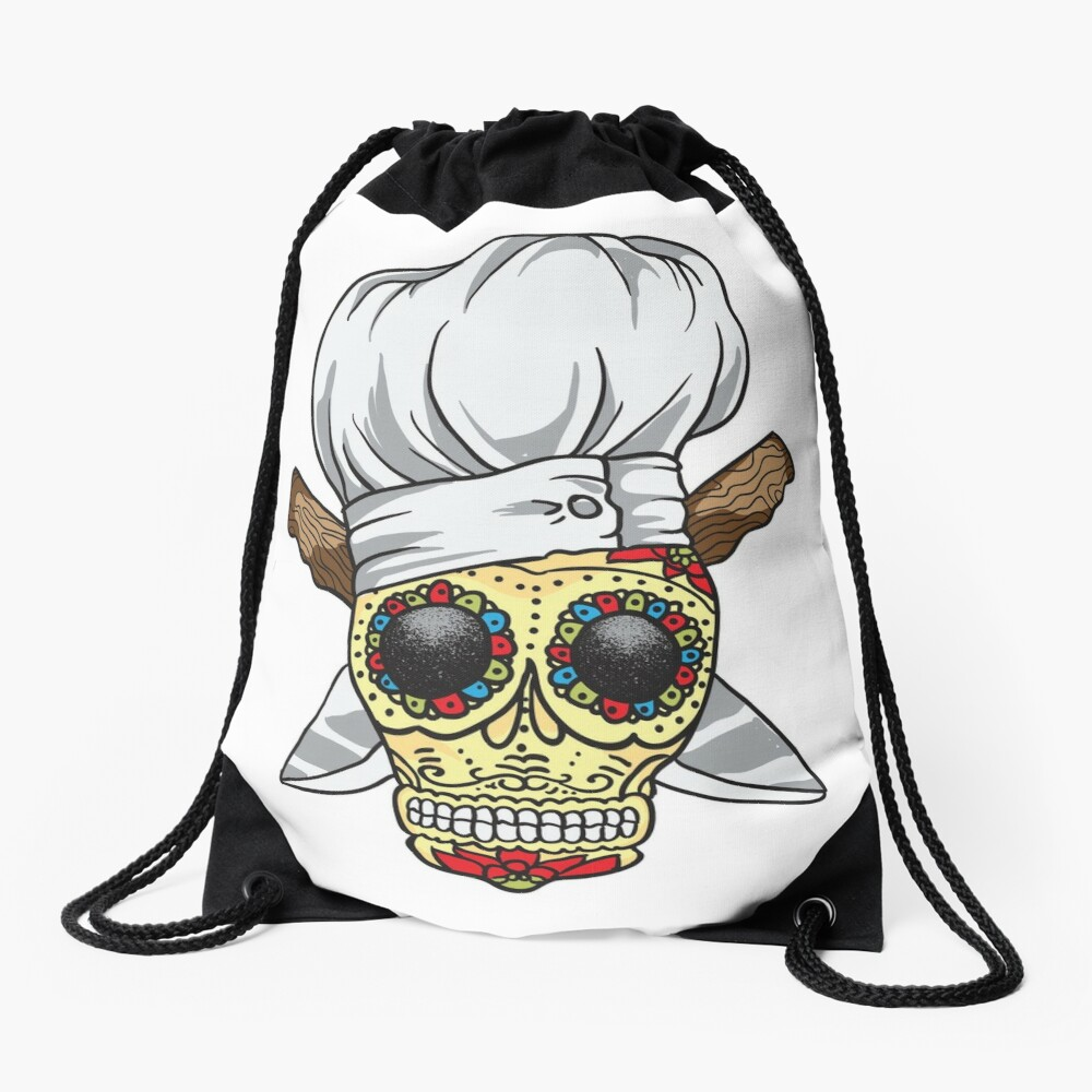 Chef Skull Drawstring Bag