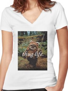 Ewok Thug Life Women's Fitted V-Neck T-Shirt