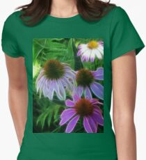 Kathie McCurdy Purple Cone Flowers Abstract Womens Fitted T-Shirt