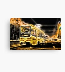 Yellow Neon Trolley Bus in the City Canvas Print