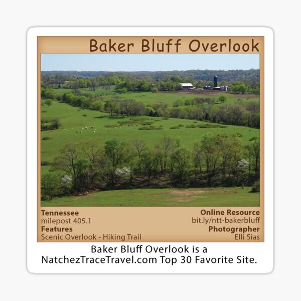 Baker Bluff Overlook (spring) on the Natchez Trace Parkway. Sticker
