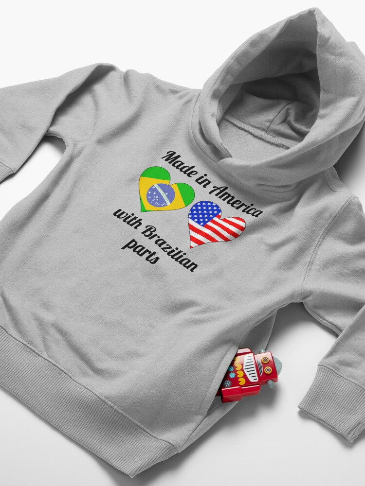 Alternate view of Made In America With Brazilian Parts Toddler Pullover Hoodie