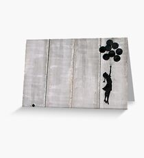 Banksy - Floating girl with balloons Greeting Card