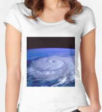Hurricane picture of earth from space.  Women's Fitted Scoop T-Shirt