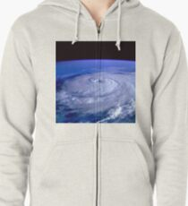 Hurricane picture of earth from space.  Zipped Hoodie