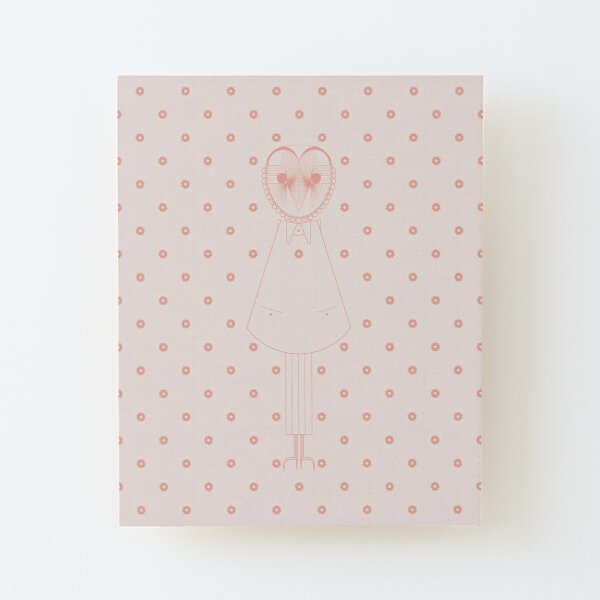 Evike II, the Owl, pink flowers, Baby and Kids Collection Wood Mounted Print
