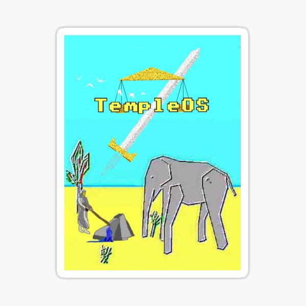 God's Favorite Elephant ( Temple OS ) Sticker