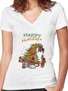 Happy Holidays from your little friends Women's Fitted V-Neck T-Shirt