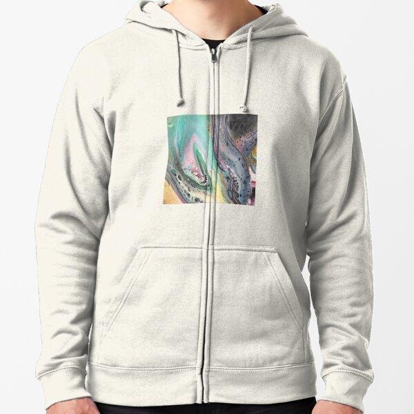 SpaceDream acrylic pour artwork Zipped Hoodie