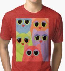 CAT FACES FIVE Tri-blend T-Shirt