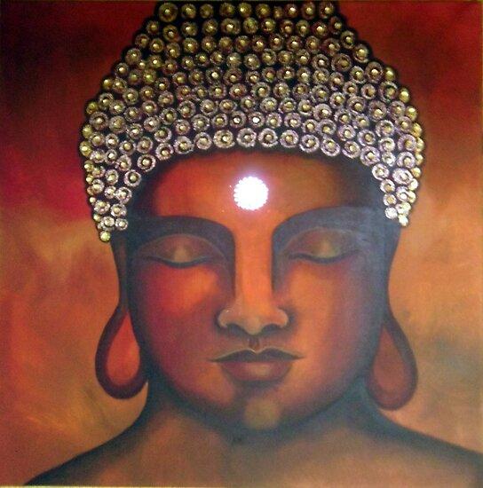 Buddha Sunset - Original Painting by Maradiop