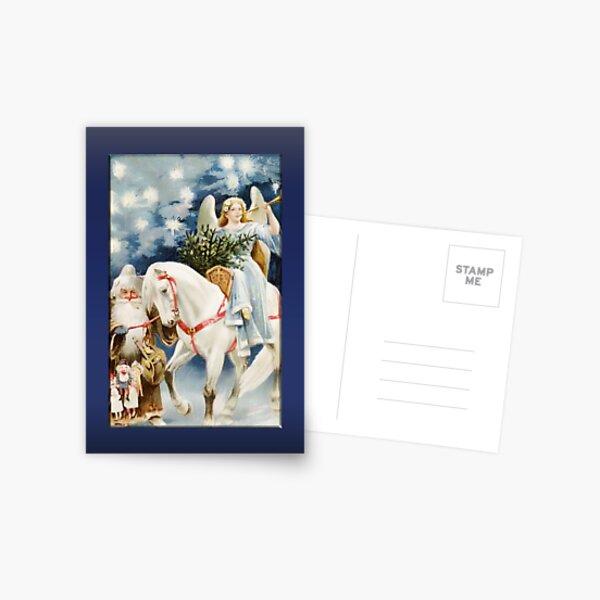 Angel on White Horse Christmas Card Postcard
