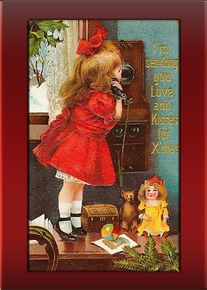 Holiday Girl on Phone Christmas Card by Pamela Phelps
