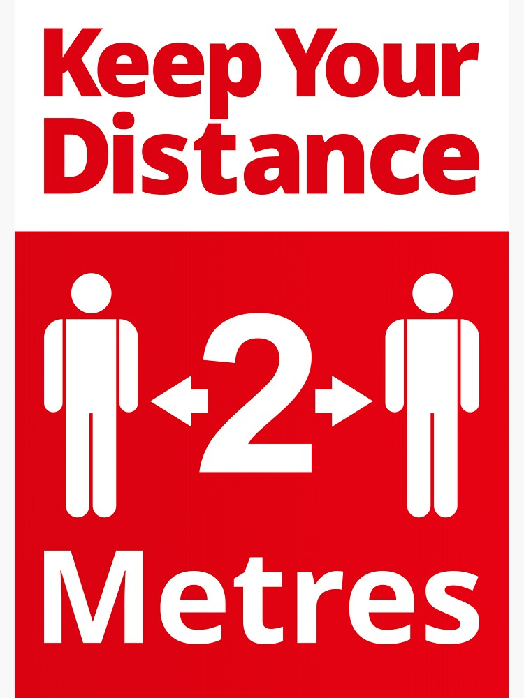 Social Distancing Sign - Keep Your Distance 2 Metres, Red and White by SocialShop