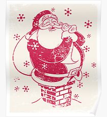 Father Christmas stuck in chimney Poster