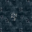 Antique White Butterflies on Dark Blue by pjwuebker