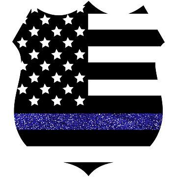 Thin Blue Line Police Flag Badge with Blue Glitter  by ChannyTatum