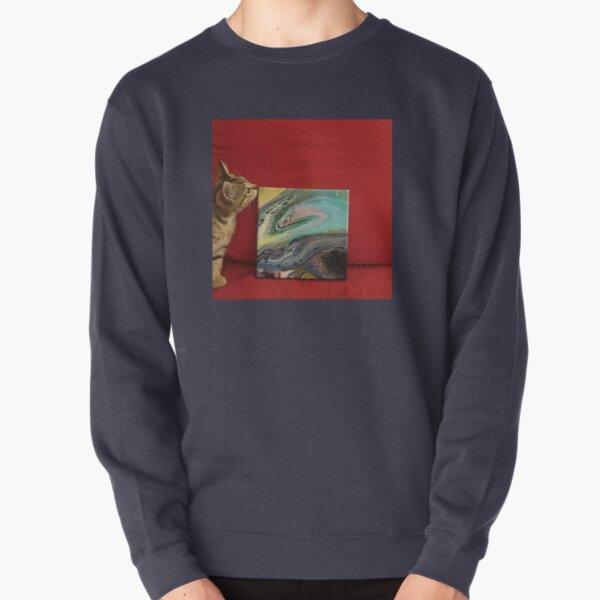 Kitten with Sunmoth painting Pullover Sweatshirt