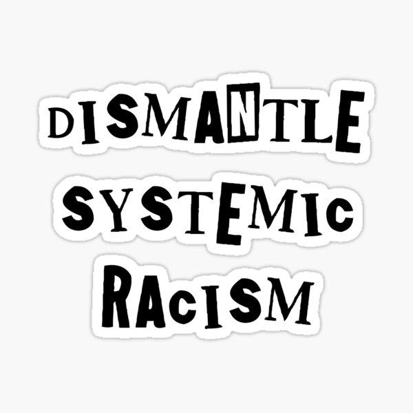 dismantle systemic racism - shoplift font (black text) Sticker