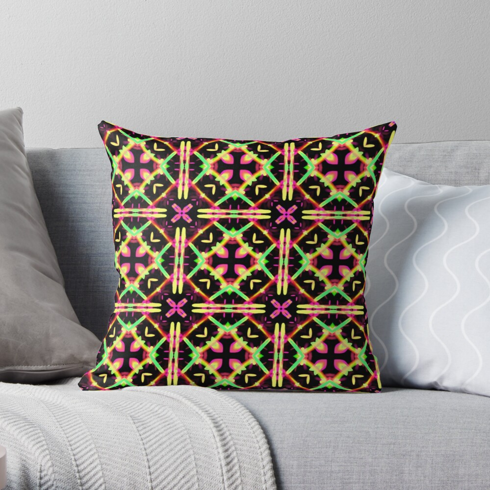Bright Funky and Colorful Patchwork kaleidoscopic Throw Pillow