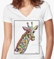 GIRAFFE Women's Fitted V-Neck T-Shirt