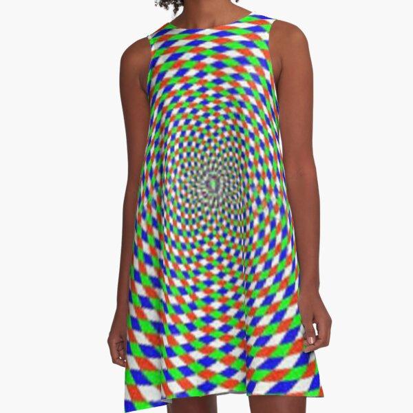 Colorful vortex spiral - hypnotic CMYK background, optical illusion A-Line Dress