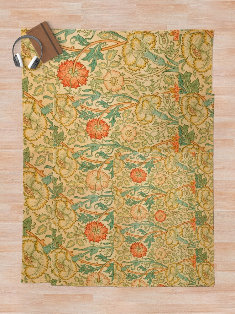 Alternate view of Pink and Rose by William Morris, 1890 Throw Blanket