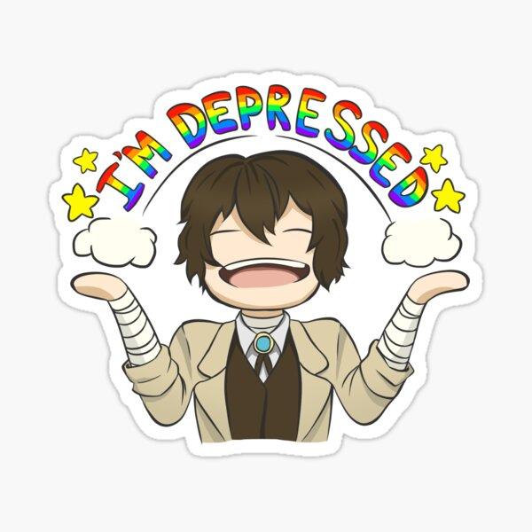 """I'm Depressed"" Dazai Sticker"