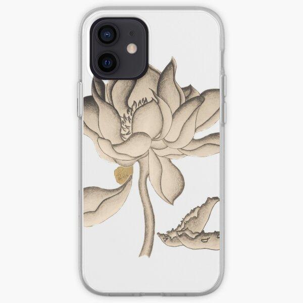 Lotus-like Flower (Sepia adjacent design) iPhone Soft Case
