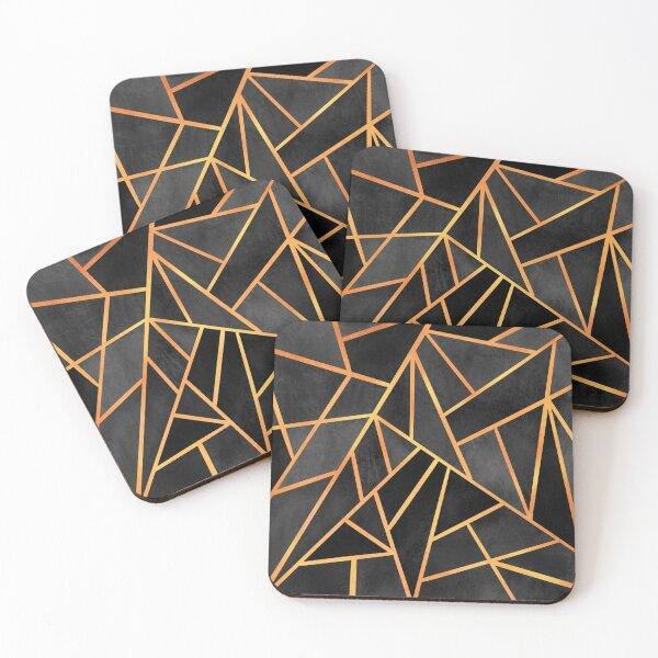 Copper and Black Art Deco Coasters (Set of 4)