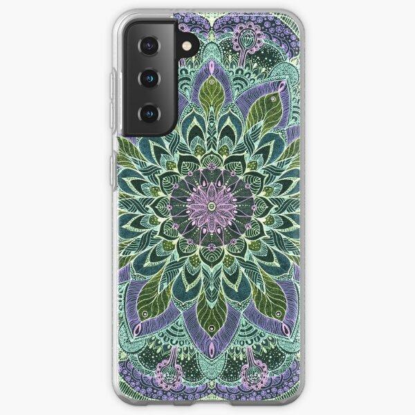 Hand Drawn Pink Purple Mandala  on Dark Samsung Galaxy Soft Case