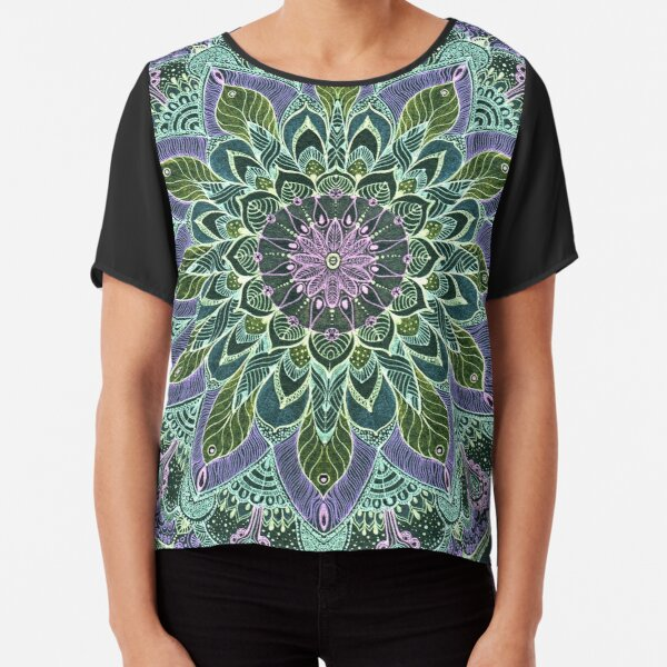Hand Drawn Pink Purple Mandala  on Dark Chiffon Top