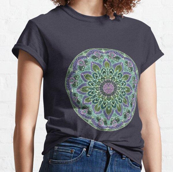 Hand Drawn Pink Purple Mandala  on Dark Classic T-Shirt