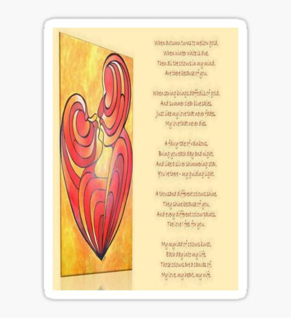 A Canvas Of My Love, My Heart, My Wife Greeting Card Sticker