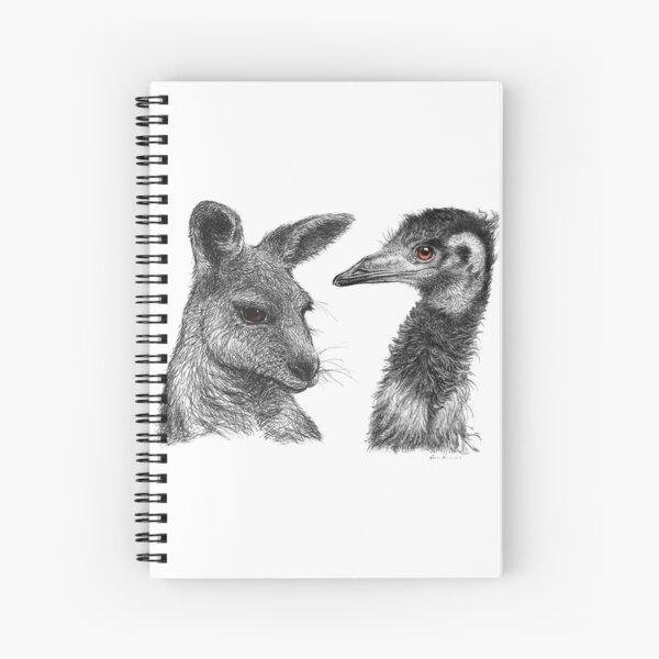 Australian Kangaroo and Emu Drawing Design - Australiana Spiral Notebook